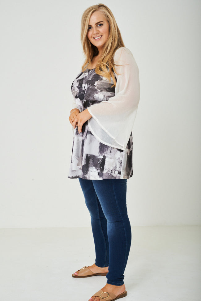 PLUS SIZE Sheer Wide Sleeve Tunic Top-Fabulous Bargains Galore