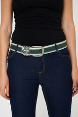 Faux Leather Skin Snake Effect Belt With Studs In Green