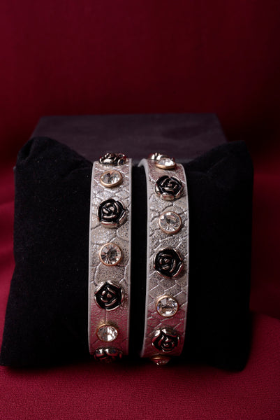 Vintage Inspired Grey Leather Roses Bracelet