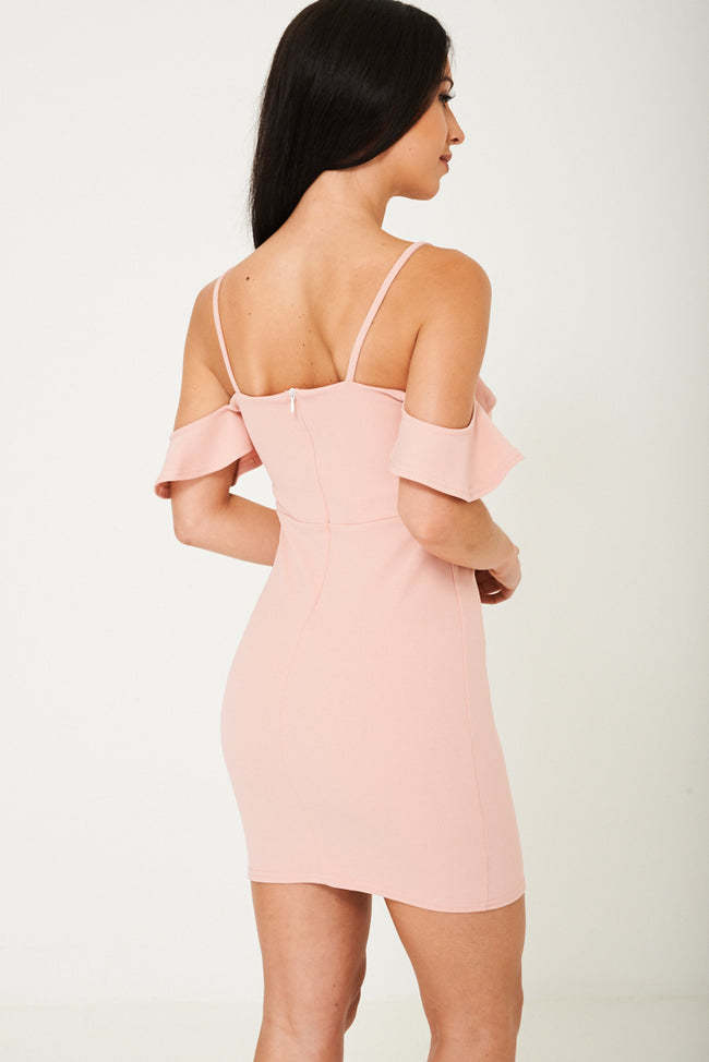 Off Shoulder Dress in Pink Ex Brand-Fabulous Bargains Galore