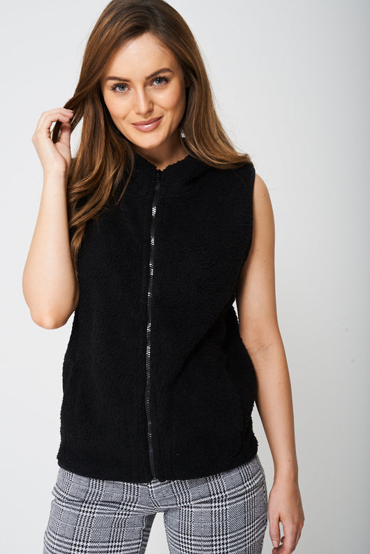 Fluffy Gilet with Fixed Hood-Fabulous Bargains Galore