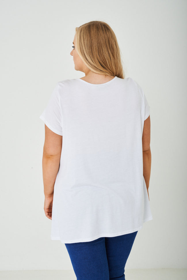 PLUS SIZE Hello Printed White Top-Fabulous Bargains Galore