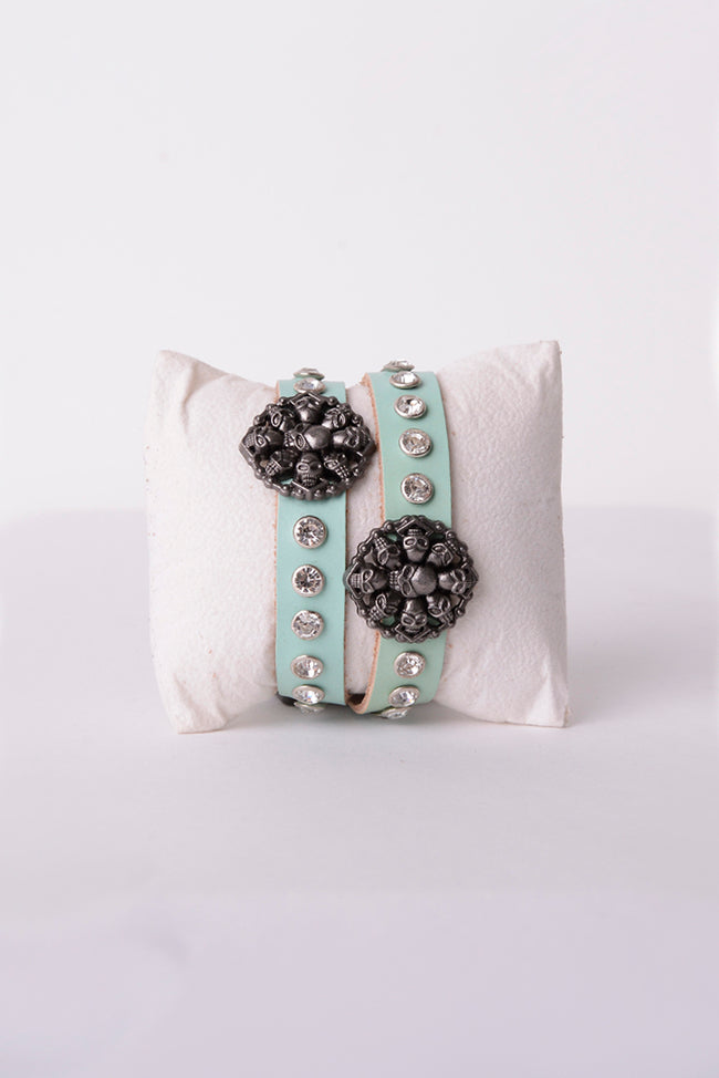 Skull Leather Bracelet in Metallic Green-Fabulous Bargains Galore
