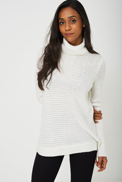 Knitted Metallic Yarn Jumper in White