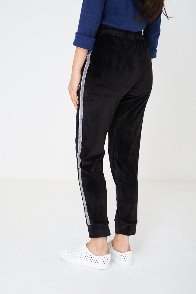 Black Velvet Trousers with Glitter Side Stripe-Fabulous Bargains Galore