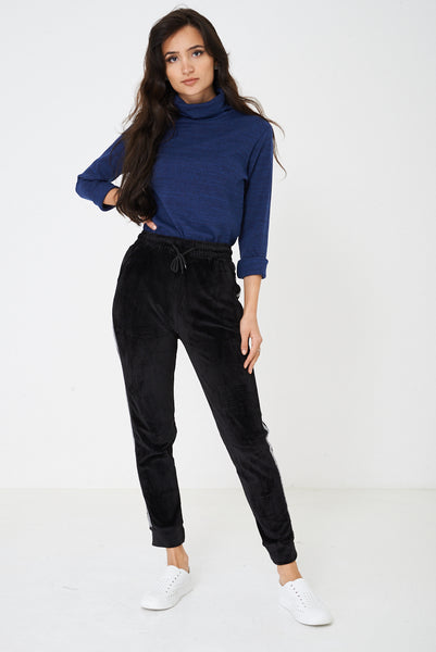 Black Velvet Trousers with Glitter Side Stripe