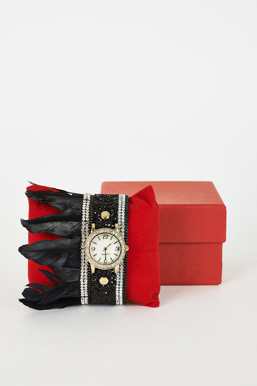 Black Sequins, Rhinestone And Feathers Detail Watch-Fabulous Bargains Galore