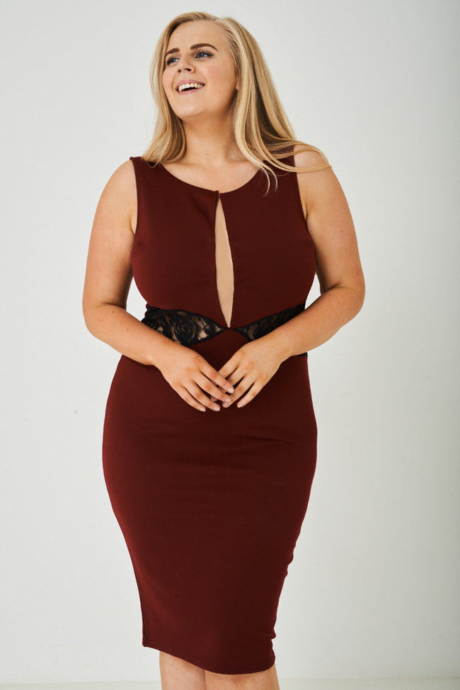 PLUS SIZE Plunge Bodycon Dress in Burgundy Ex Brand-Fabulous Bargains Galore