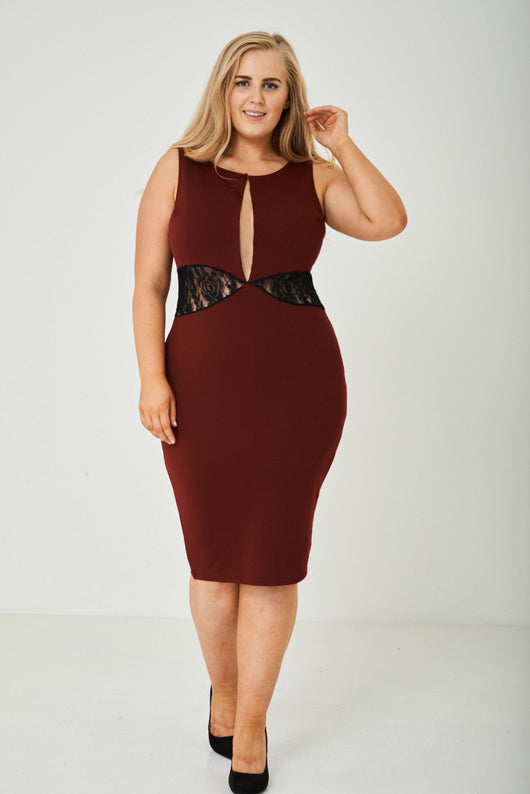 PLUS SIZE Plunge Bodycon Dress in Burgundy Ex Brand - Fabulous Bargains Galore