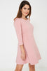 Long Sleeve Skater Dress in Pink Ex Brand