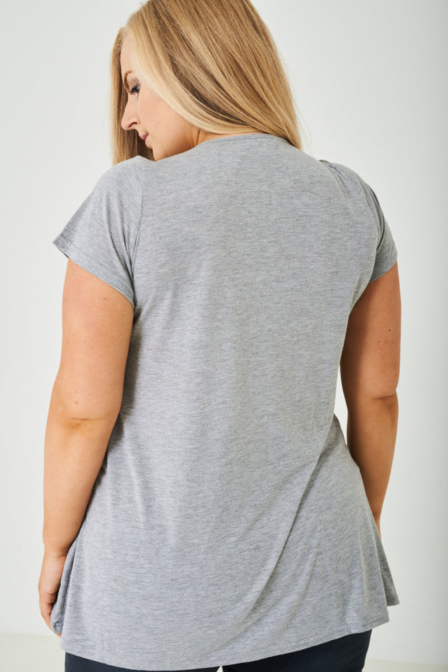 PLUS SIZE Hello Printed Grey Top-Fabulous Bargains Galore