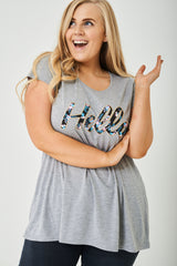 PLUS SIZE Hello Printed Grey Top