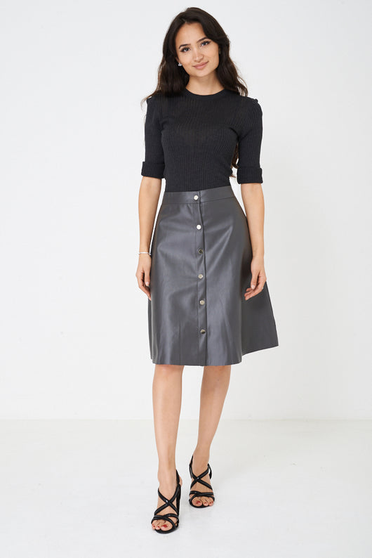 Faux Leather Skirt in Grey-Fabulous Bargains Galore