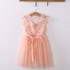 Pink Tulle Crochet Lace Girls Dress
