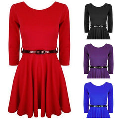 Plain Girls Skater Dress Up with Belt