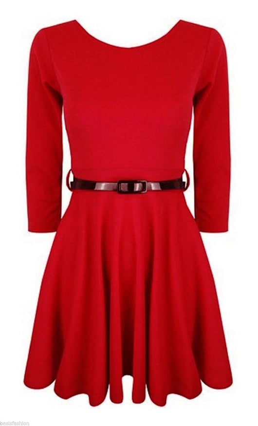 Long Sleeve Plain Skater Dress for Girls-Fabulous Bargains Galore