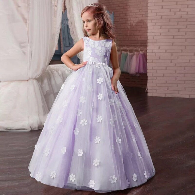 Purple gown for flower girl up to age 12 years-Fabulous Bargains Galore