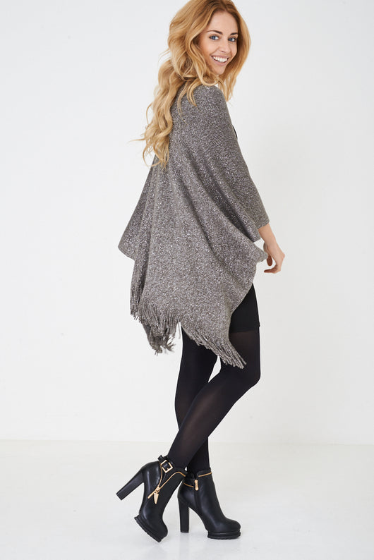 Grey Cape with Metallic Insert-Fabulous Bargains Galore