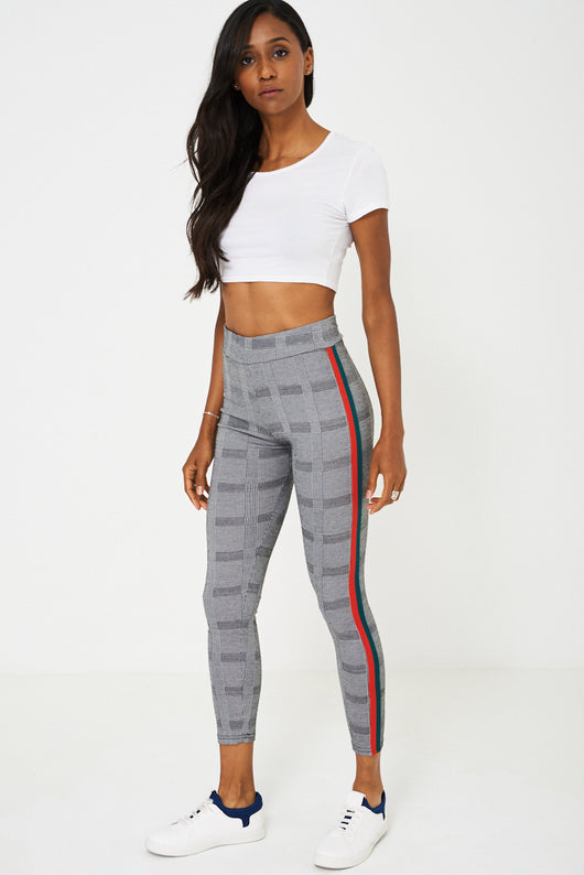 Dog Tooth Check Side Stripe Legging - Fabulous Bargains Galore