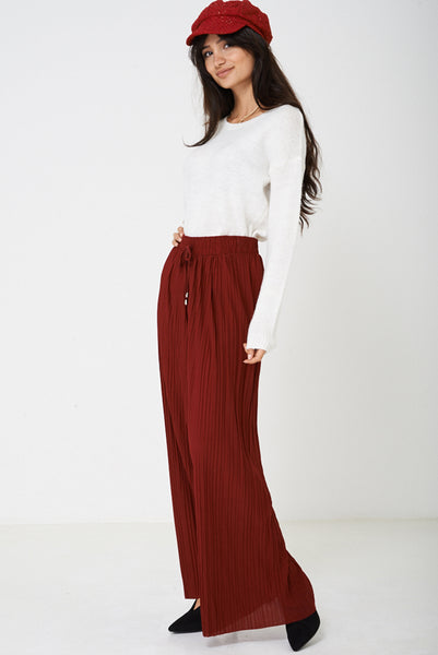 Pleated Wide Leg Trousers in Burgundy