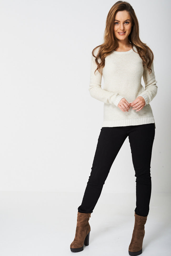 Round Neck Glitter Knit Jumper-Fabulous Bargains Galore