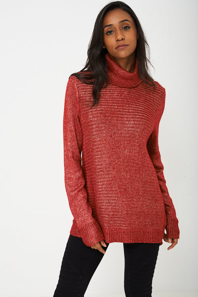 Knitted Metallic Yarn Jumper in Red