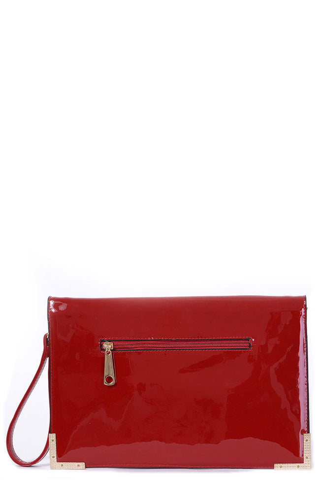 Patent Red Envelope Clutch Bag-Fabulous Bargains Galore