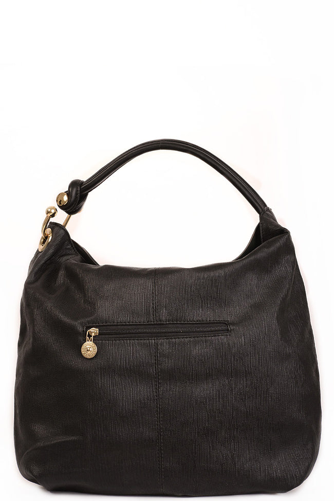 Black Hobo Bag with Embroidery-Fabulous Bargains Galore