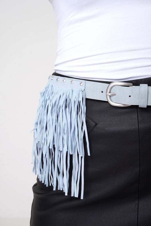 Faux Leather With Fringe Suede Studded Belt In Blue-Fabulous Bargains Galore