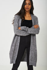 Knitted Long Cardigan in Grey