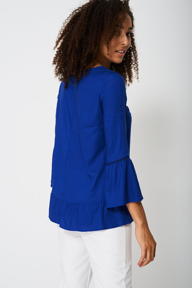 Bell Sleeve Blouse With Front Smocking Detail-Fabulous Bargains Galore