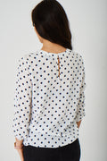 White Polka Dot Top Ex Brand-Fabulous Bargains Galore