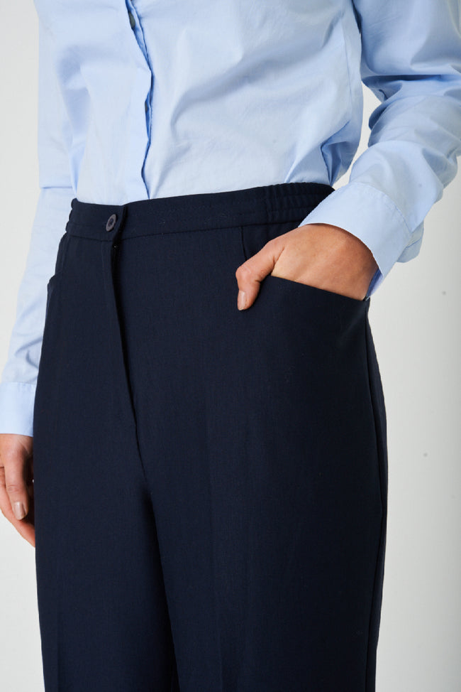 Navy Straight Leg Tailored Trousers-Fabulous Bargains Galore