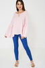 Fluted Sleeve Top in Pink Stripes