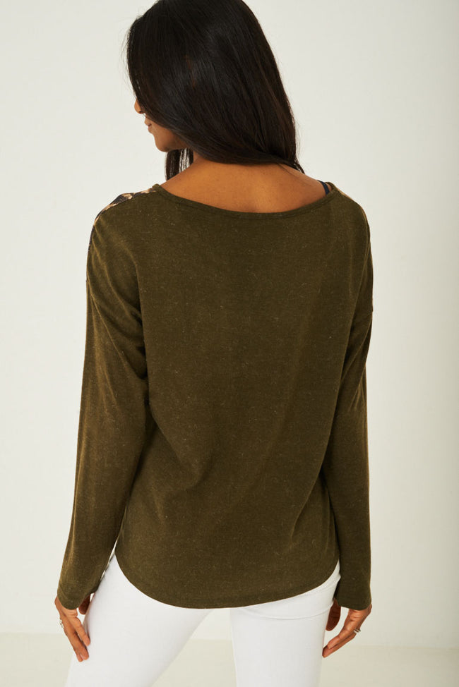 Face Print Top in Khaki-Fabulous Bargains Galore