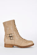 Taupe Lace Up Mid Calf Combat Boots-Fabulous Bargains Galore