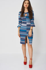 Zig Zag Print Dress With Bell Sleeves