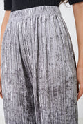 Crushed Velvet Grey Wide Leg Trousers-Fabulous Bargains Galore
