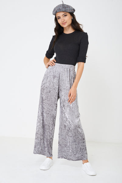 Crushed Velvet Grey Wide Leg Trousers