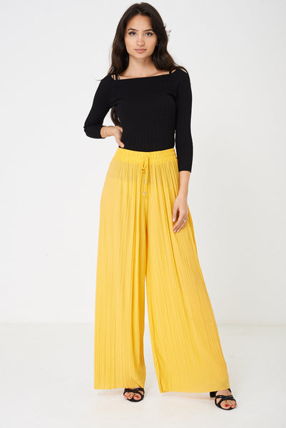 Pleated Wide Leg Trousers in Yellow