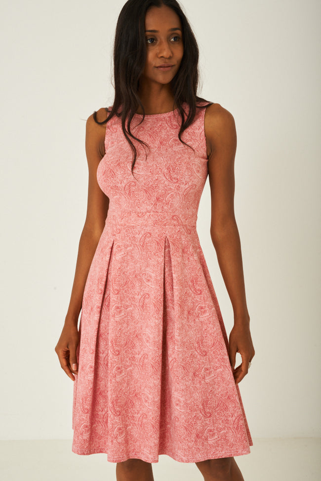 Pink Paisley Skater Dress with Pleat Detail-Fabulous Bargains Galore