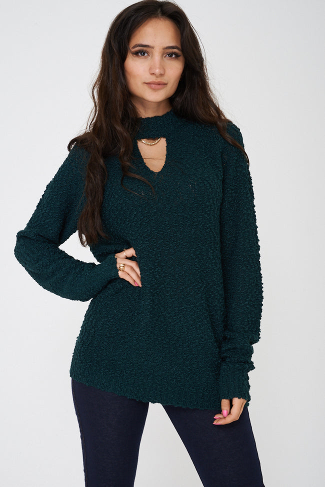 Choker Neck Green Jumper Ex Brand-Fabulous Bargains Galore