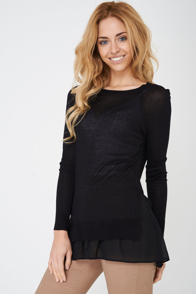 Black Sheer Knit Top Ex Brand-Fabulous Bargains Galore