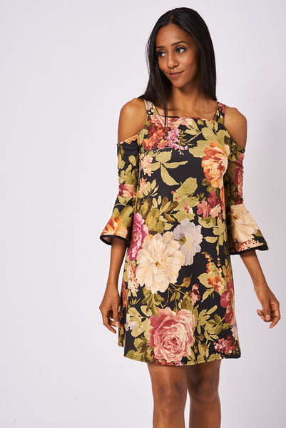 Floral Pattern Cold Shoulder Dress With Frill Sleeves