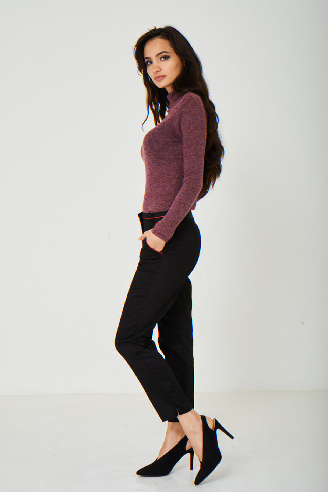 Knitted Burgundy Polo Neck Ex Brand-Fabulous Bargains Galore