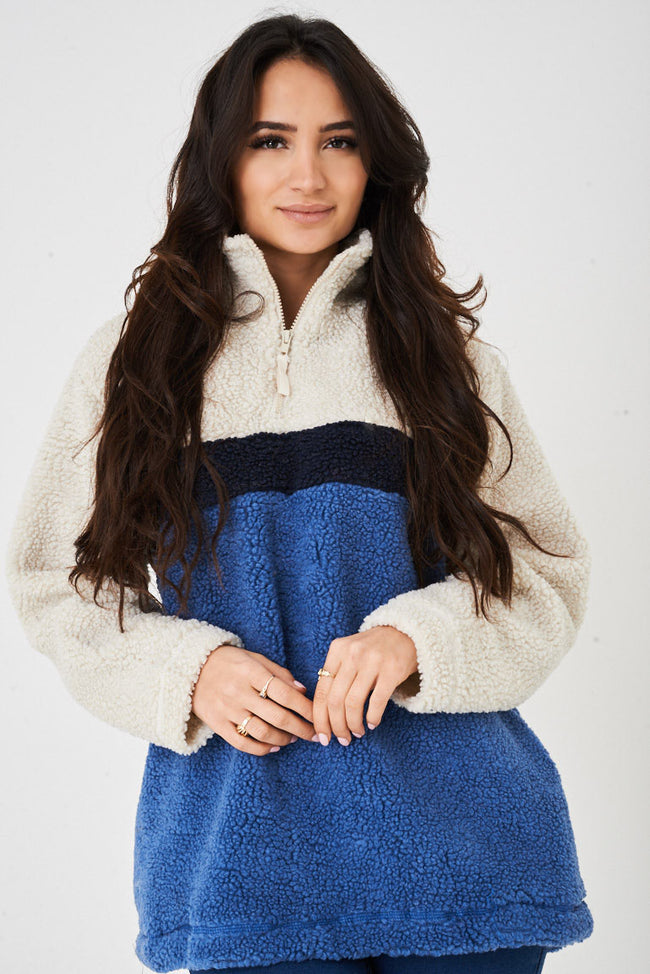 Blue Teddy Fur Jumper-Fabulous Bargains Galore