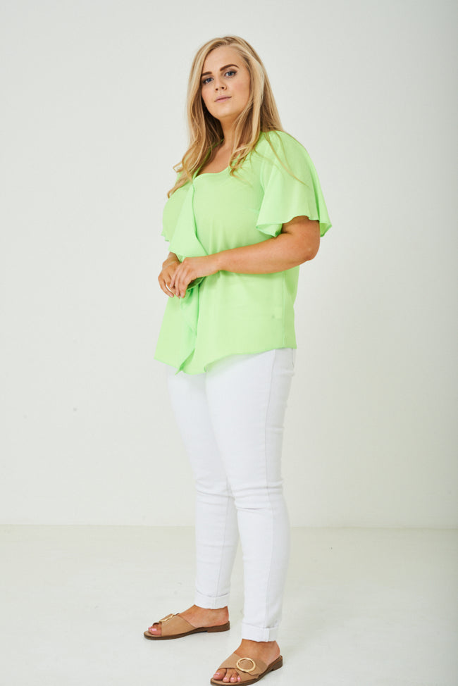 PLUS SIZE Ruffle Front Top in Green-Fabulous Bargains Galore