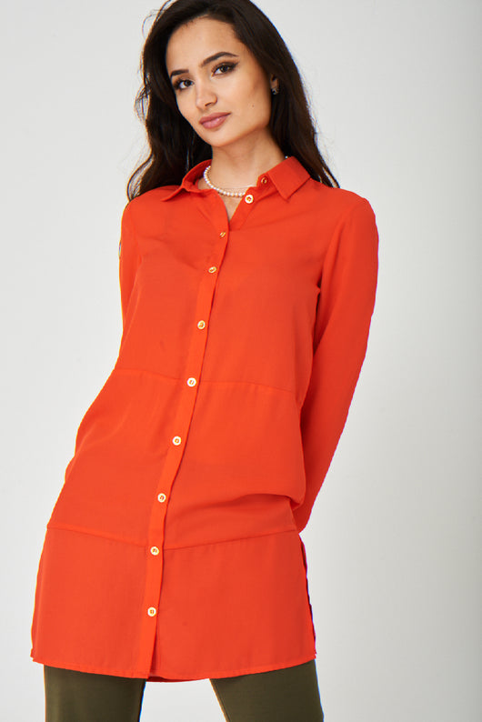 Jothirty Bright Coral Shirt Dress-Fabulous Bargains Galore