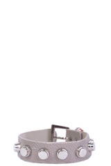 Faux Leather Stud Bracelet In Grey