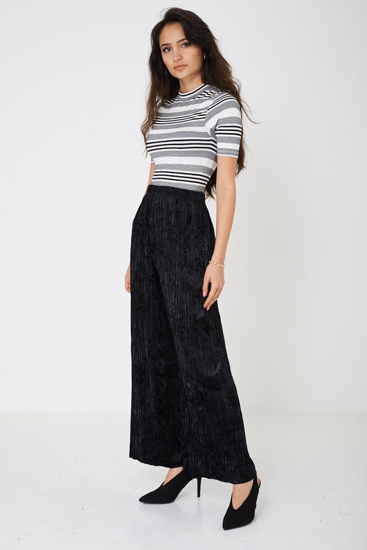 Crushed Velvet Black Wide Leg Trousers